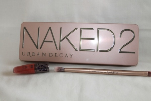 "Naked 2 Pallet with the travel sized Lip Junkie lipgloss in ""Naked"" and a double ended good karma brush."