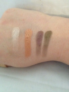 Left to right: Nude Sparkle, Copper, Mauve & Olive Green.